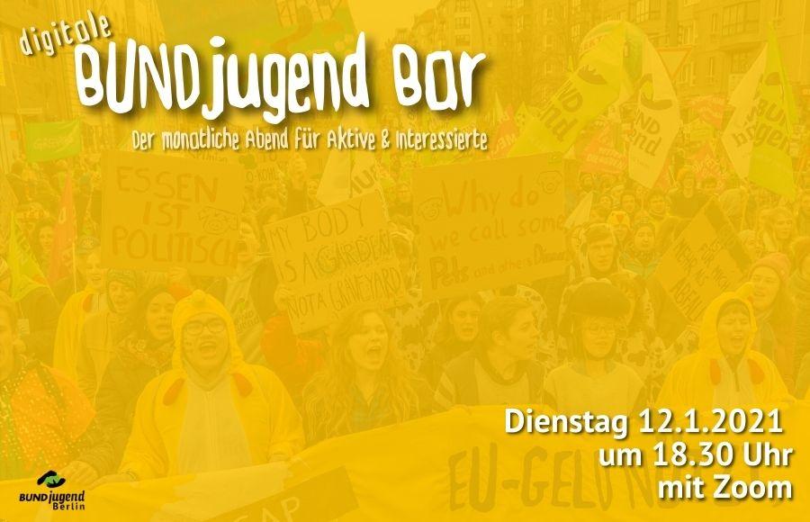 Flyer für die BUNDjugend Bar am 12. Januar um 18.30 Uhr über Zoom.