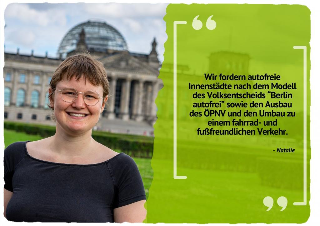 """Wir fordern autofreie Innenstädte nach dem Modell des Volksentscheids """"Berlin autofrei"""" sowie den Ausbau des ÖPNV und den Umbau zu einem fahrrad- und fußfreundlichen Verkehr."""